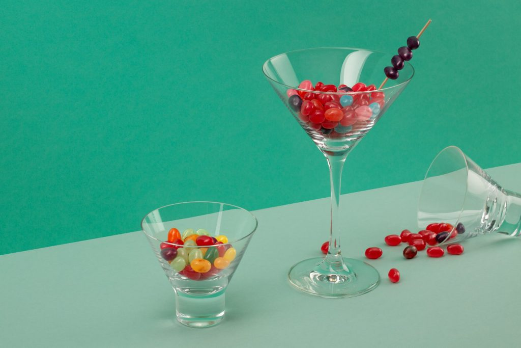 jellybeans in a cocktail glass.