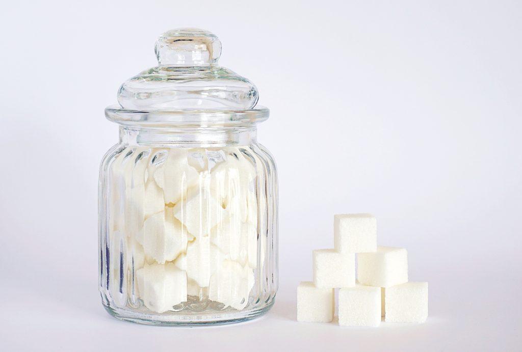 A jar of sugar cubes